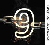 number nine on the steel chain... | Shutterstock . vector #754315351