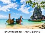 amazing view of beautiful beach ... | Shutterstock . vector #754315441