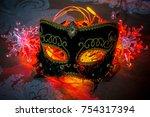 mask for christmas carnival. | Shutterstock . vector #754317394