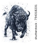 Watercolor  Buffalo  Bison ...
