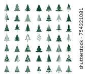 set of green christmas trees.... | Shutterstock .eps vector #754321081