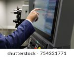 a service engineer using the... | Shutterstock . vector #754321771