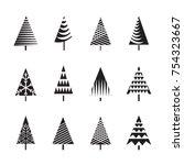 set of black christmas trees... | Shutterstock .eps vector #754323667