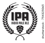 ipa or india pale ale badge or... | Shutterstock .eps vector #754325065