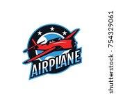 airplane logo badge. wind... | Shutterstock .eps vector #754329061