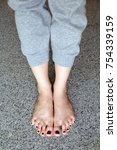 barefeet with nail pedicure.... | Shutterstock . vector #754339159