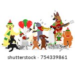 christmas cats and dogs group | Shutterstock .eps vector #754339861