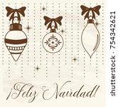 feliz navidad  merry christmas... | Shutterstock .eps vector #754342621