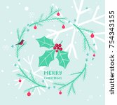 cute christmas card with holly... | Shutterstock .eps vector #754343155