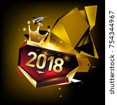 vector new year 2018 poster...   Shutterstock .eps vector #754344967