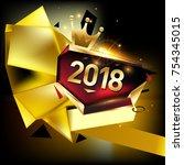 vector new year 2018 poster... | Shutterstock .eps vector #754345015