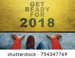 concept for 2018 year  top view ... | Shutterstock . vector #754347769