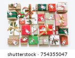 christmas calendar with gifts... | Shutterstock . vector #754355047