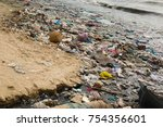 polluted beach in a fishing... | Shutterstock . vector #754356601