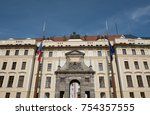 entrance to prague castle in... | Shutterstock . vector #754357555