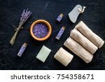 set for foot spa with lavender. ...   Shutterstock . vector #754358671