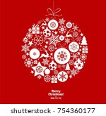 christmas ornament balls with... | Shutterstock .eps vector #754360177