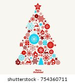 christmas ornament balls with... | Shutterstock .eps vector #754360711