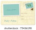 baby boy arrival postcard | Shutterstock .eps vector #75436198