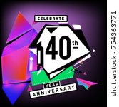 40th years anniversary card... | Shutterstock .eps vector #754363771