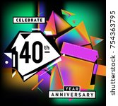 40th years anniversary card... | Shutterstock .eps vector #754363795