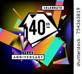 40th years anniversary card... | Shutterstock .eps vector #754363819