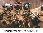 group of happy friends having... | Shutterstock . vector #754364641