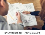 engineer and architect... | Shutterstock . vector #754366195