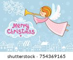 christmas greeting card with a...   Shutterstock .eps vector #754369165