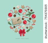 christmas greeting card with... | Shutterstock .eps vector #754370305