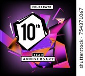 10th years anniversary card... | Shutterstock .eps vector #754371067