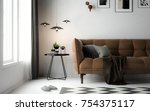 interior living room ... | Shutterstock . vector #754375117