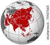 asia on earth  abstract vector... | Shutterstock .eps vector #75437665