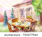 lunch on vacation in the... | Shutterstock . vector #754377964