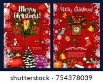 christmas wreath with gift for... | Shutterstock .eps vector #754378039