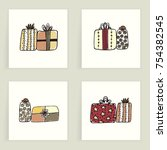 set of four cards. hand drawn... | Shutterstock .eps vector #754382545
