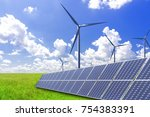 solar power and wind power to... | Shutterstock . vector #754383391