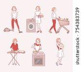 a woman doing housework hand... | Shutterstock .eps vector #754383739