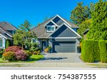 big custom made luxury house... | Shutterstock . vector #754387555