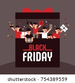 black friday shopping customer... | Shutterstock .eps vector #754389559