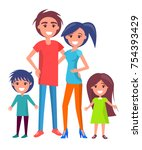 happy family poster with mother ... | Shutterstock .eps vector #754393429