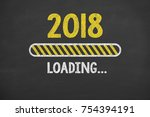 new year 2018 energy concept on ... | Shutterstock . vector #754394191