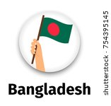bangladesh flag in hand  round...