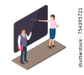 teacher standing near... | Shutterstock .eps vector #754395721