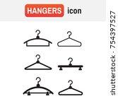 hangers vector black icons.... | Shutterstock .eps vector #754397527