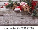 christmas composition on old... | Shutterstock . vector #754397839