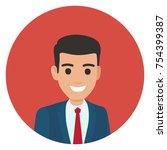 brunette businessman in blue... | Shutterstock .eps vector #754399387