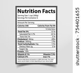 nutrition facts given on piece... | Shutterstock .eps vector #754401655
