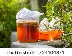 glass jar of kombucha fermented ... | Shutterstock . vector #754404871