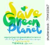 vector eco logo save green... | Shutterstock .eps vector #754410367